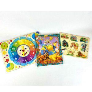 3 - Wooden Puzzle Bundle-Clock, Animals, Pooh